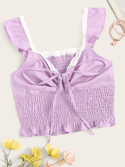 Tie Neck Shirred Cami Top - S / Purple - Crop Tops