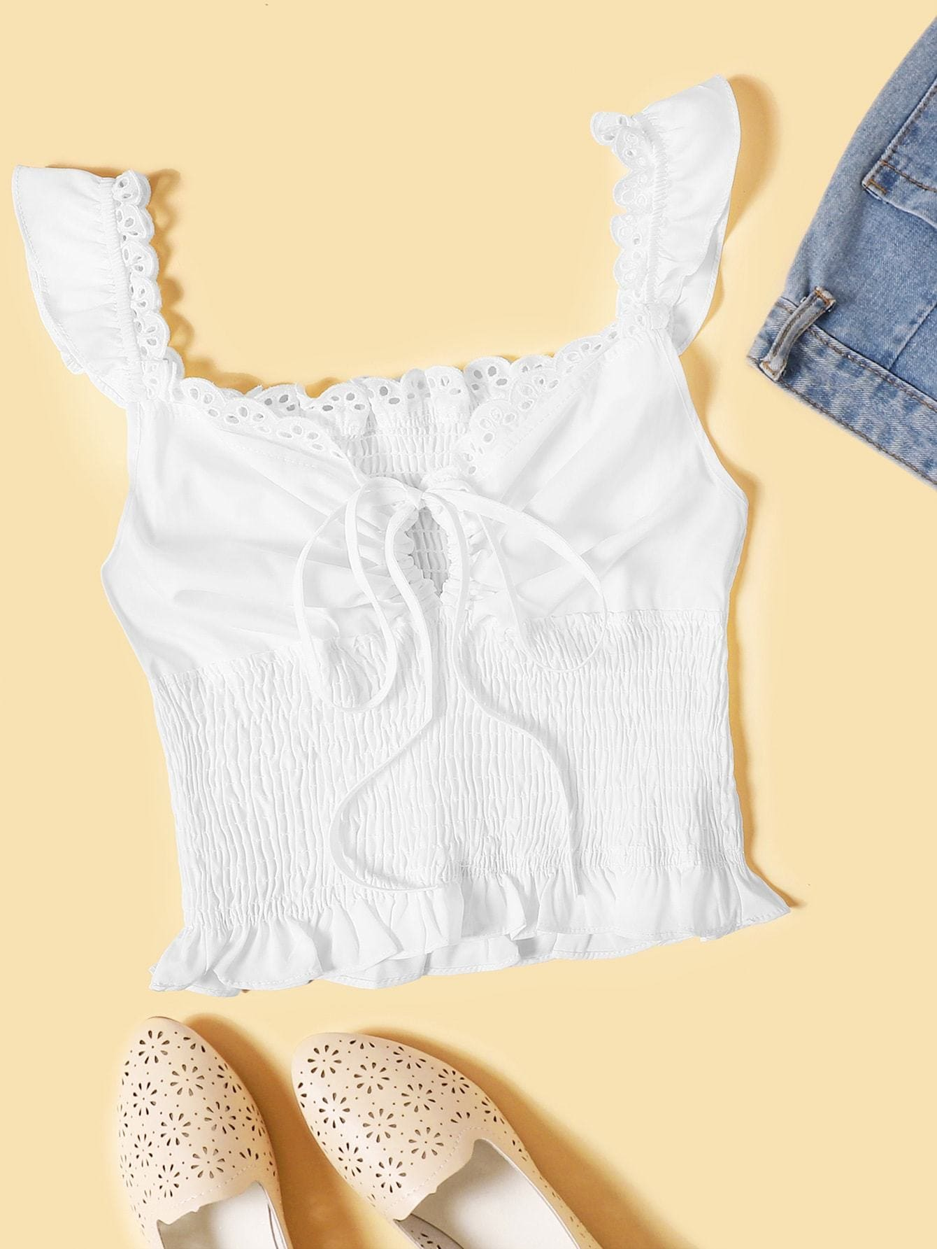 Tie Neck Shirred Cami Top - S / White - Crop Tops