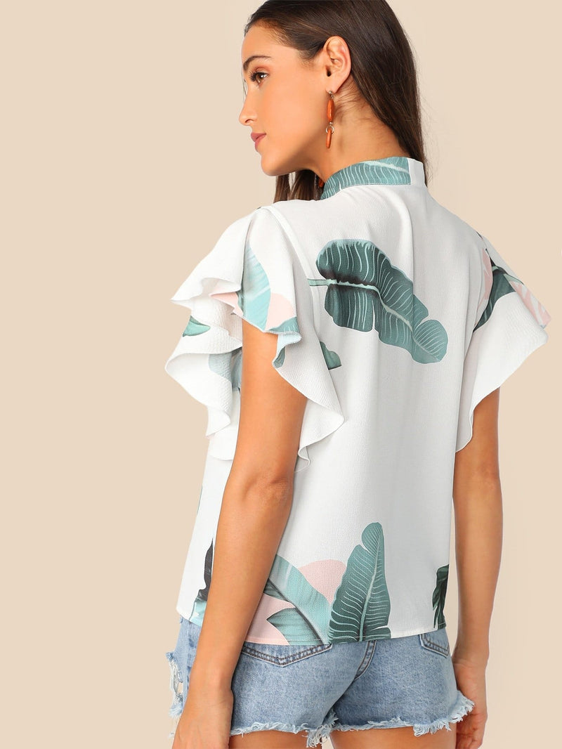 Tie Neck Tropical Print Flutter Sleeve Top - XS - Shirts