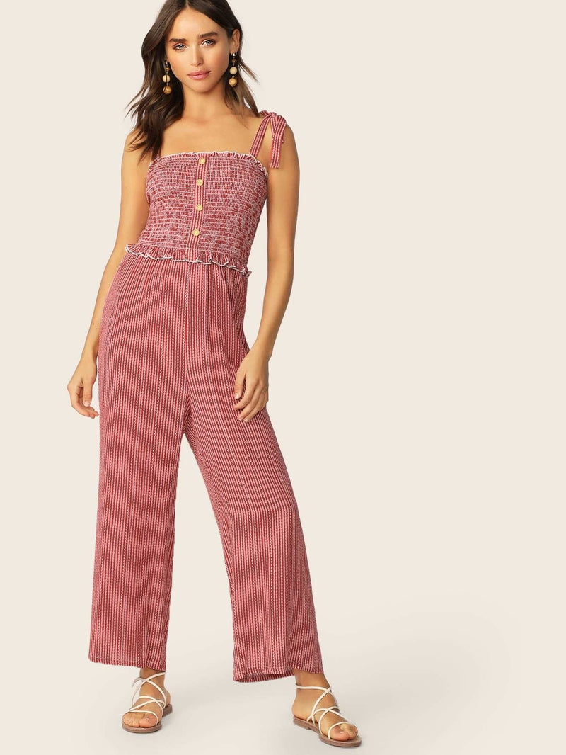 Tie Strap Buttoned Front Shirred Bodice Striped Jumpsuit - XS - Womens Jumpsuits