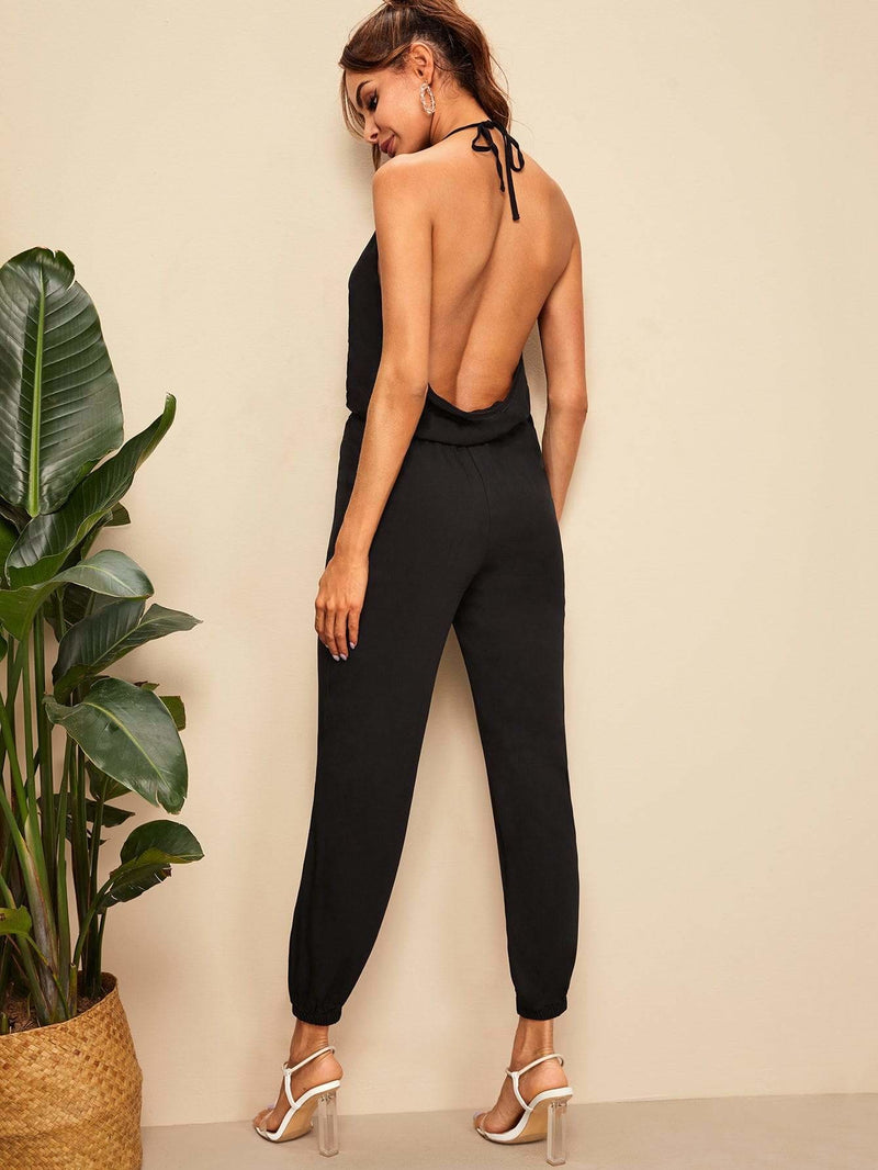 Tied Backless Slant Pocket Wrap Halter Jumpsuit - S - Womens Jumpsuits