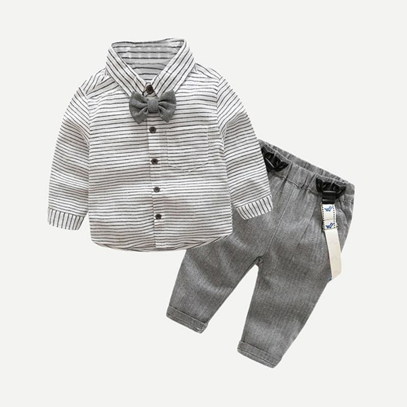 Toddler Boys Bow Front Striped Preppy Shirt With Pants - Multi / 6M - Boy Suit Set