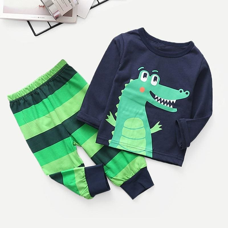 Toddler Boys Cartoon Print Pullover With Striped Pants Sets - Multi / 4T - Boy Suit Set