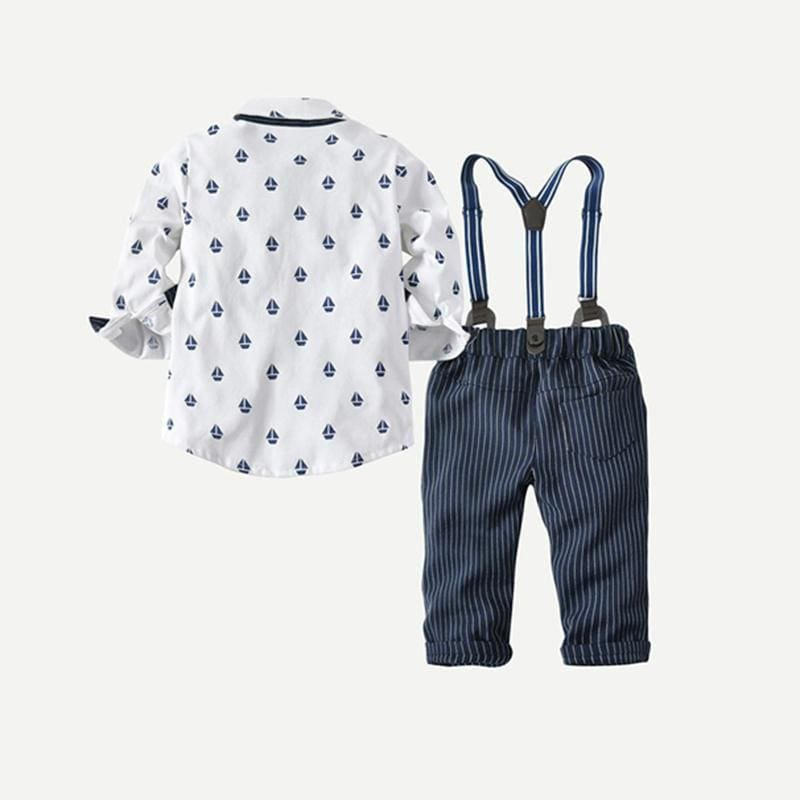 Toddler Boys Print Preppy Shirt With Striped Overalls - Multi / 4T - Boy Suit Set