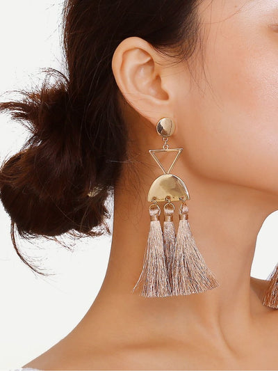 Triangle & Half Round Tassel Drop Earrings - Earrings