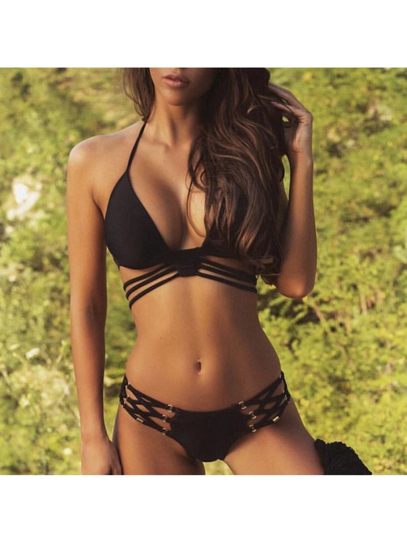 Triangle Lace Up Sexy Ring Bikini Set