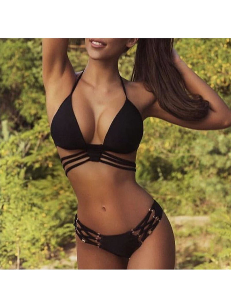 Triangle Lace Up Sexy Ring Bikini Set - 1945-1 / M - Bikini