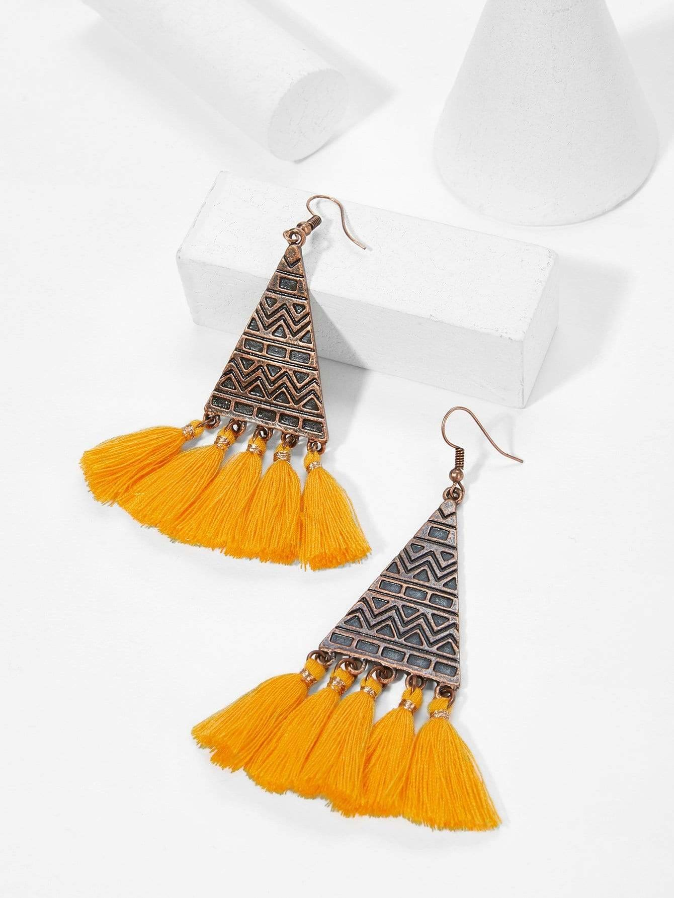 Triangle Shaped Tassel Drop Earrings - Earrings