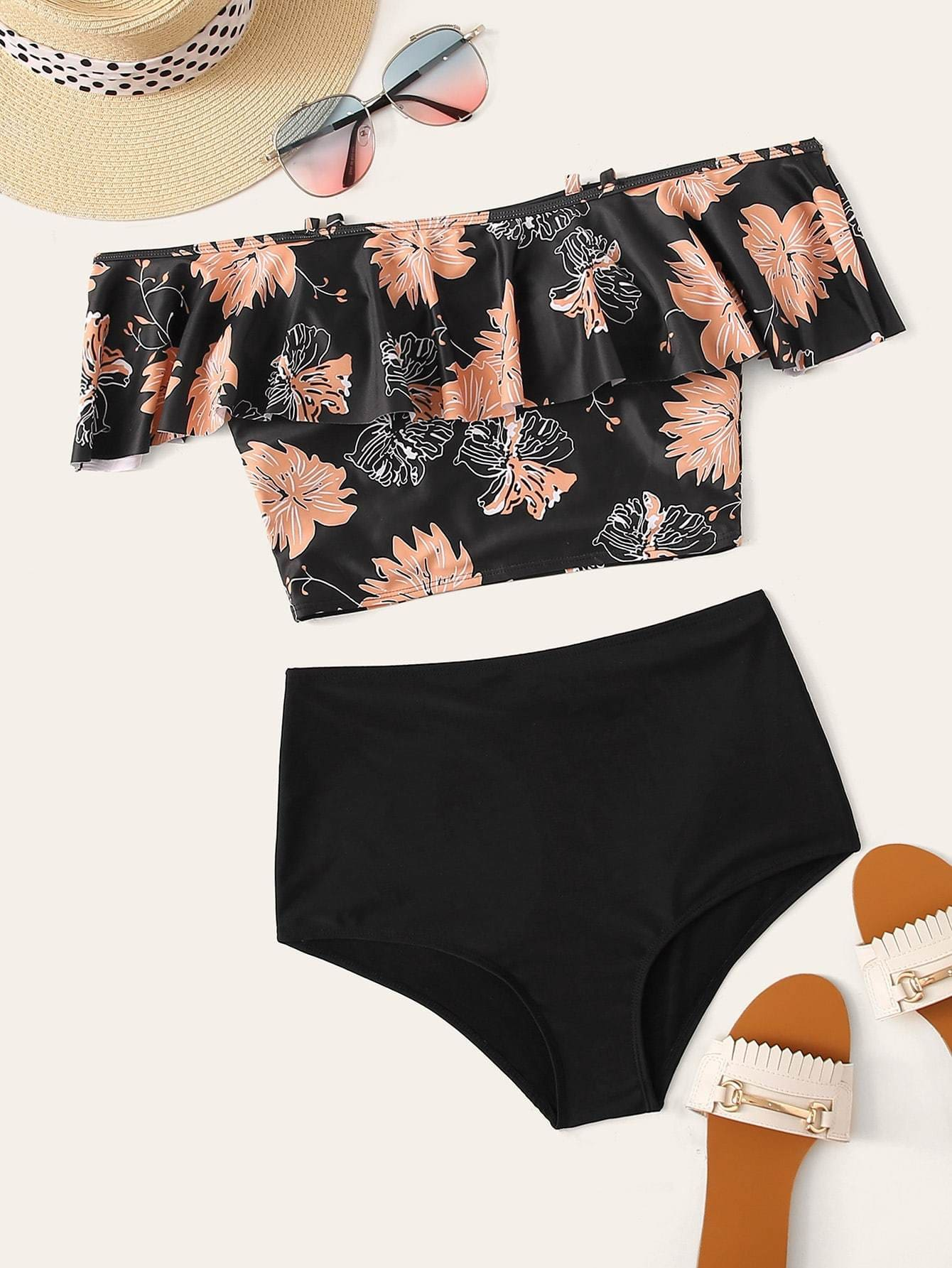Tropical Flounce Top With High Waist Bikini Set - S - High Waist Swimwear
