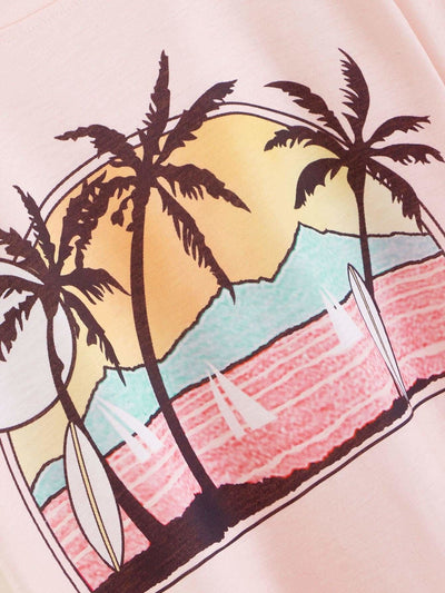 Tropical & Landscape Print Tee - Shirts
