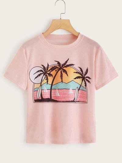 Tropical & Landscape Print Tee - S - Shirts