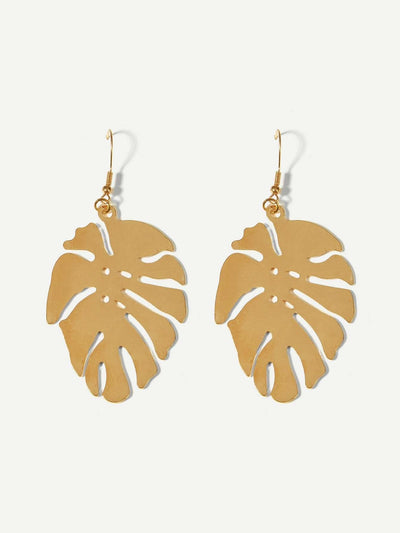 Tropical Leaf Shaped Metal Drop Earrings - Earrings