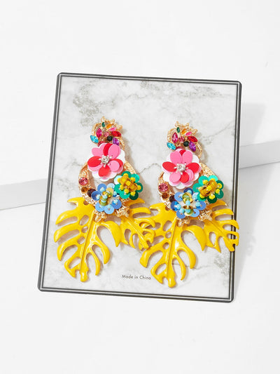 Tropical Leaves & Sequin Flower Drop Earrings - Earrings