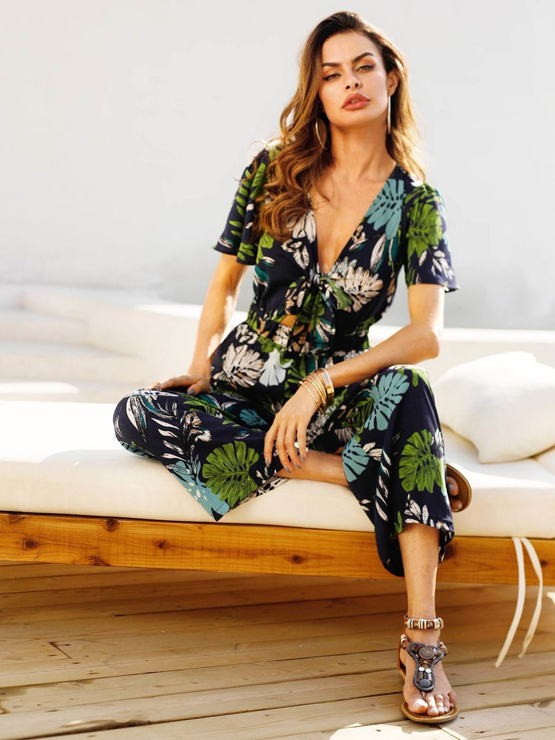 Tropical Print Knot Detail Jumpsuit - Womens Jumpsuits