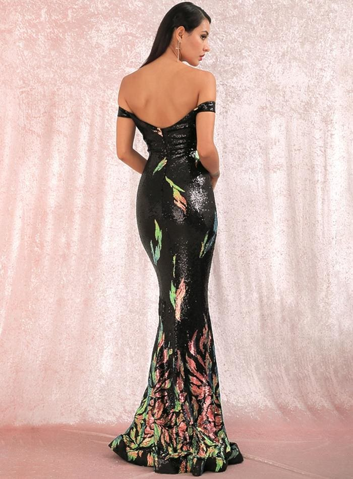Tube Top Black Positioning Pattern Sequins Fishtail Prom Maxi Dress - BLACK / L - Dresses