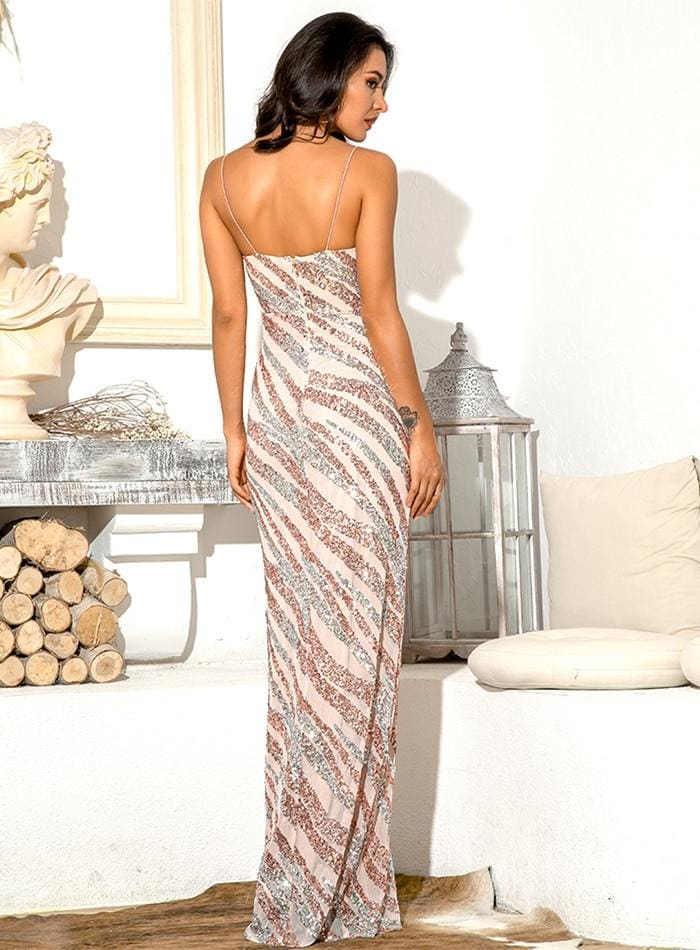 Tube Top Geometric Sequin Bodycon Prom Maxi Dress - PICS COLOUR / XS - Dresses