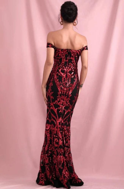 Tube Top Red Geometric Sequins Prom Maxi Dress - Dresses