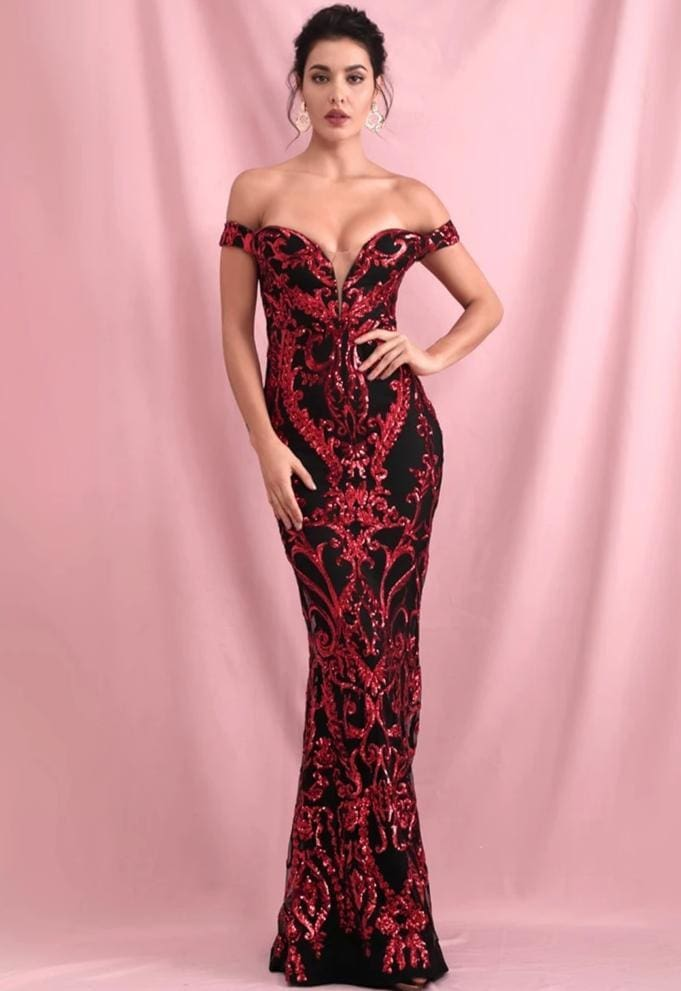 Tube Top Red Geometric Sequins Prom Maxi Dress