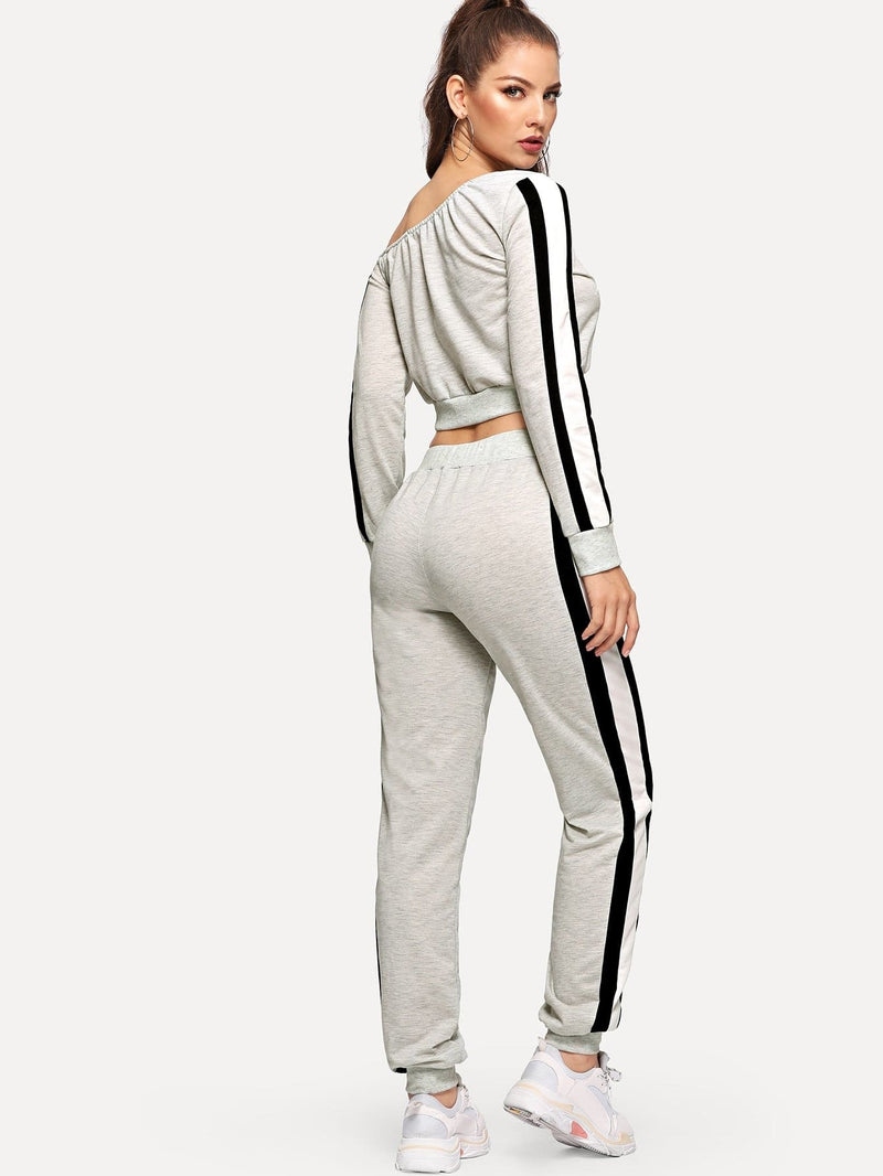 Tunic Striped Pullover & Pants Set - Sportsuit