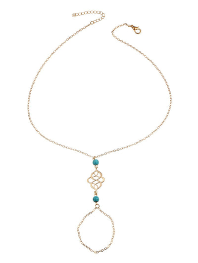 Turquoise Detail Chain Body Jewelry - Body Jewelry