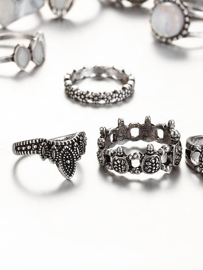 Turtle And Crown Design Ring Set - Rings