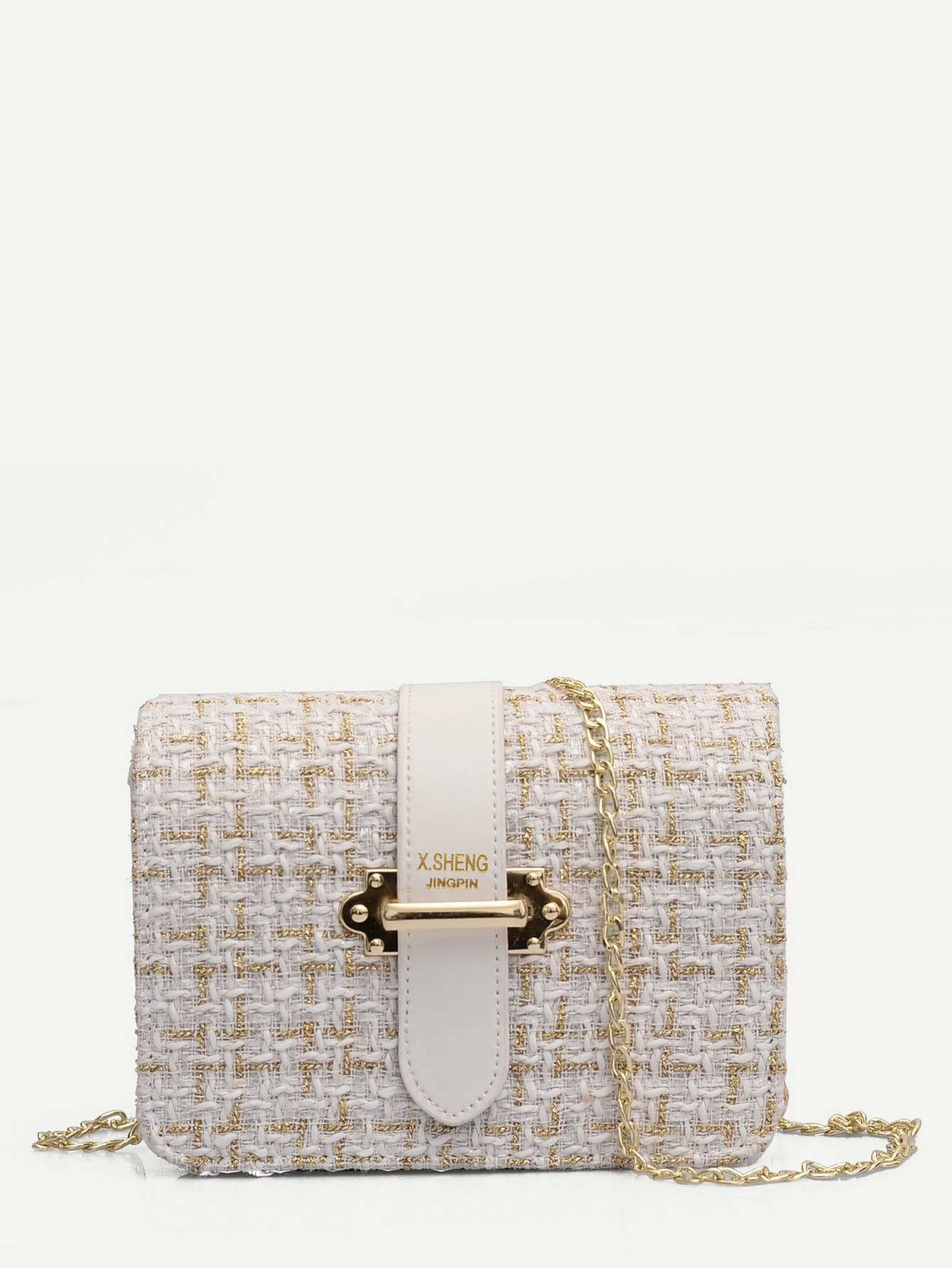 Tweed Chain Crossbody Bag - Womens Bag