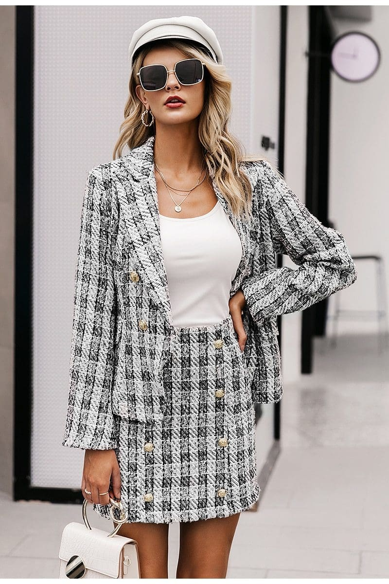 Tweed Plaid Office Blazer Suit Set - Multi / S - Womens Co-Ord Sets