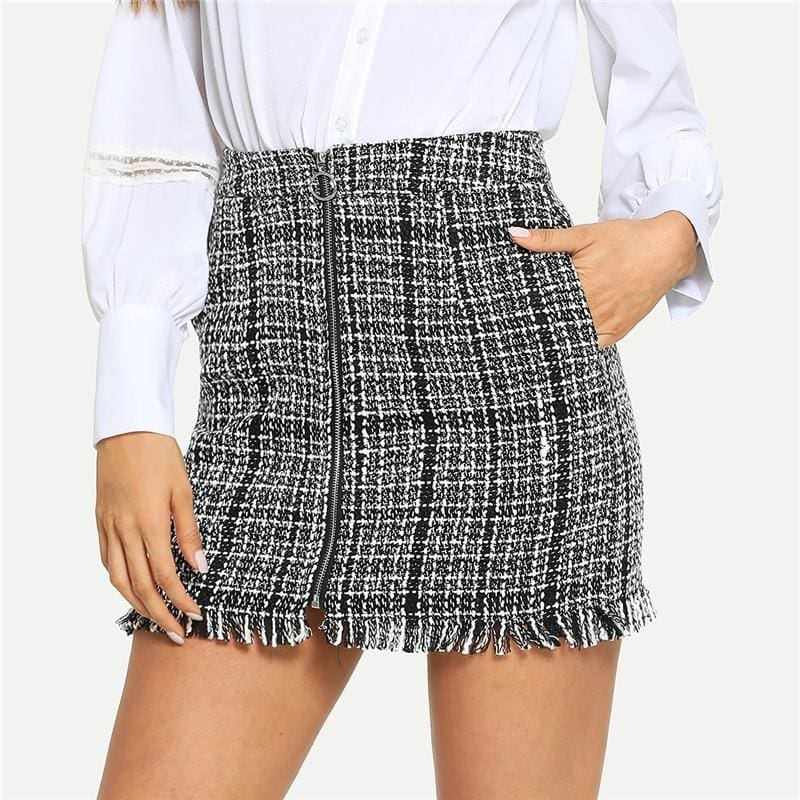 Tweed Zip Front High Waist Pocket Plaid Mini Skirt