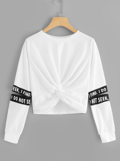 Twist Detail Letter Taped Sweatshirt - Gym Tops