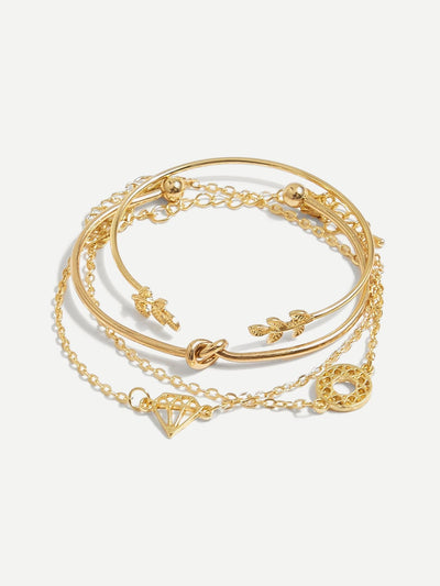 Twist & Leaf Bracelet Set 4Pcs - Bracelets