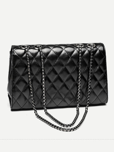 Twist Lock Detail Quilted Shoulder Bag - Womens Bag