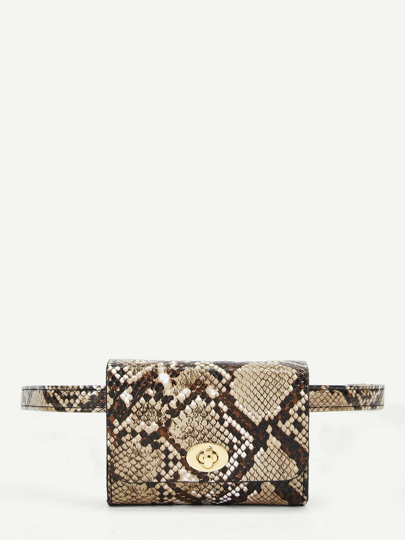 Twist Lock Snakeskin Print Fanny Pack - Womens Bag