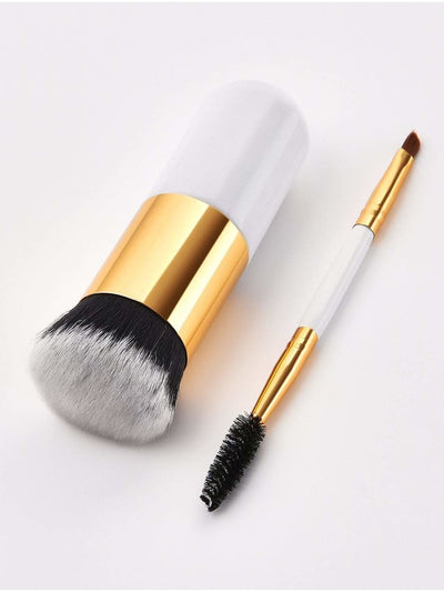 Two Head Eye Brush And Chunky Brush Set 2Pcs - Makeup Brushes