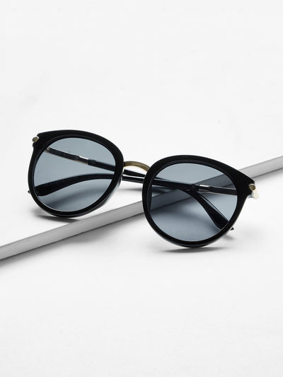 Two Tone Frame Flat Lens Sunglasses - Sunglasses