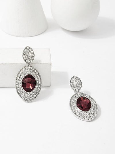 Two Tone Gemstone Oval Drop Earrings - Earrings