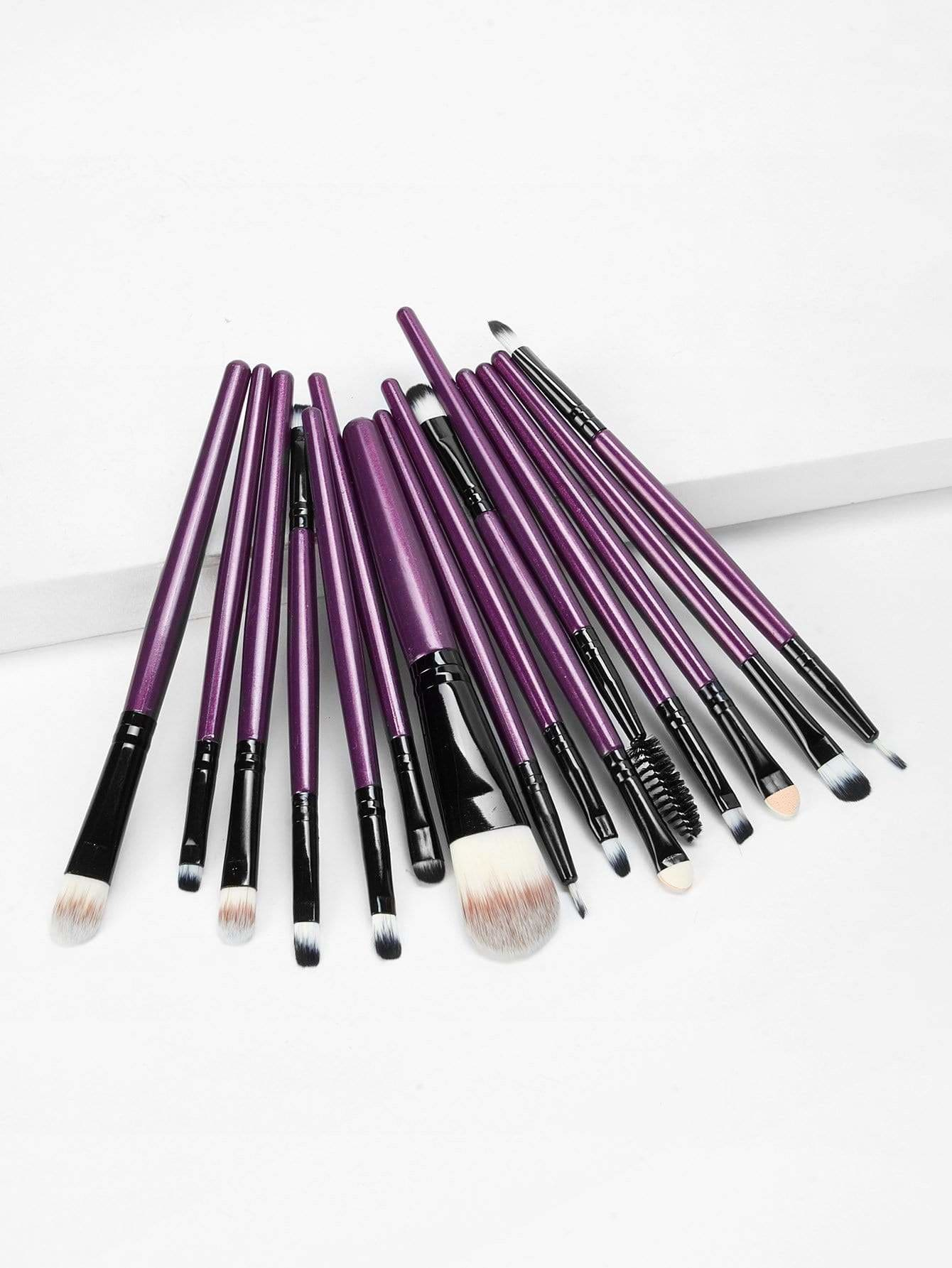 Two Tone Handle Makeup Brushes 15Pcs - Makeup Brushes