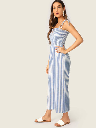 Two Tone Knot Shoulder Frill Smocked Striped Jumpsuit - Womens Jumpsuits