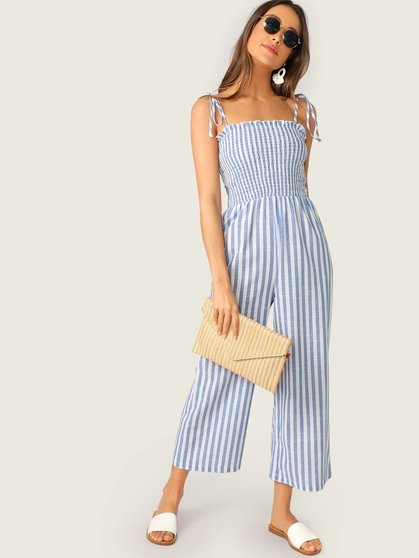Two Tone Knot Shoulder Frill Smocked Striped Jumpsuit