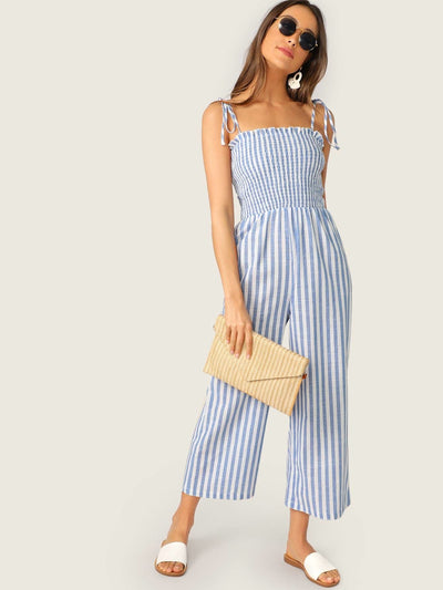 Two Tone Knot Shoulder Frill Smocked Striped Jumpsuit - XS - Womens Jumpsuits