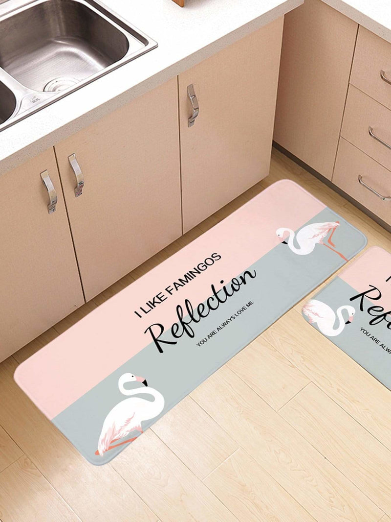 Two Tone Letter Print Floor Mat - One-Size / Multicolor - Rugs & Mats