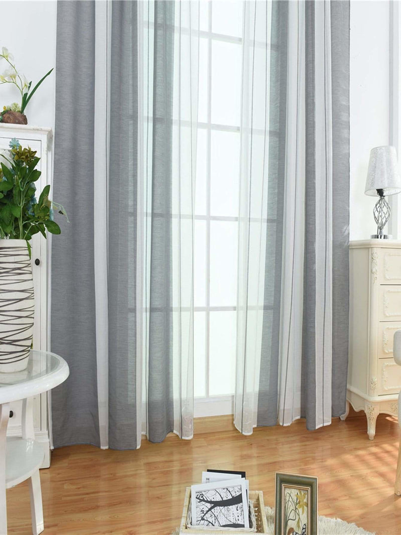Two Tone Rod Pocket Sheer Curtain 1pc - Curtains