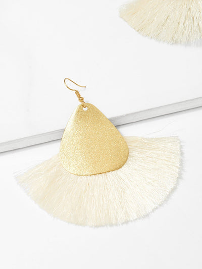 Two Tone Tassel Drop Earrings - Earrings