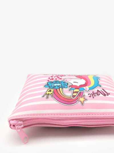 Unicorn Print Striped Makeup Bag - Makeup Bags