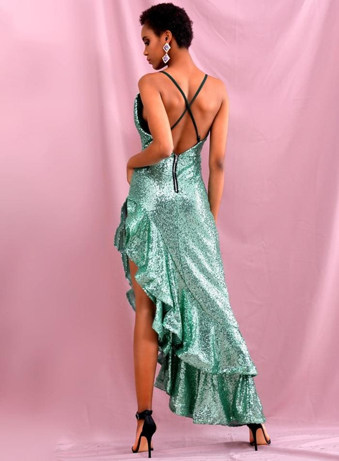 V-Neck Big Lotus Leaf Stitching Sequins Party Maxi Dress - GREEN / XS - Dresses