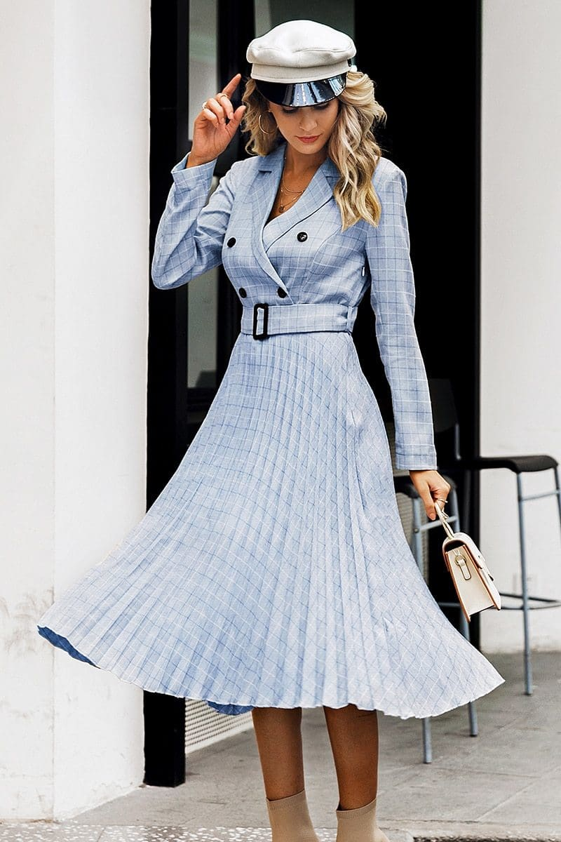 V Neck Elegant Button Blazer Pleated Office Midi Dress - Dresses
