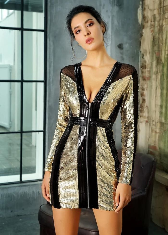 V-Neck Gold And Black Patchwork Sequin Party Mini Dress - PIC COLOR / S - Dresses