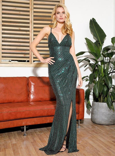 V-Neck Open Back Split Ironing Sequins Prom Maxi Dress - Dresses