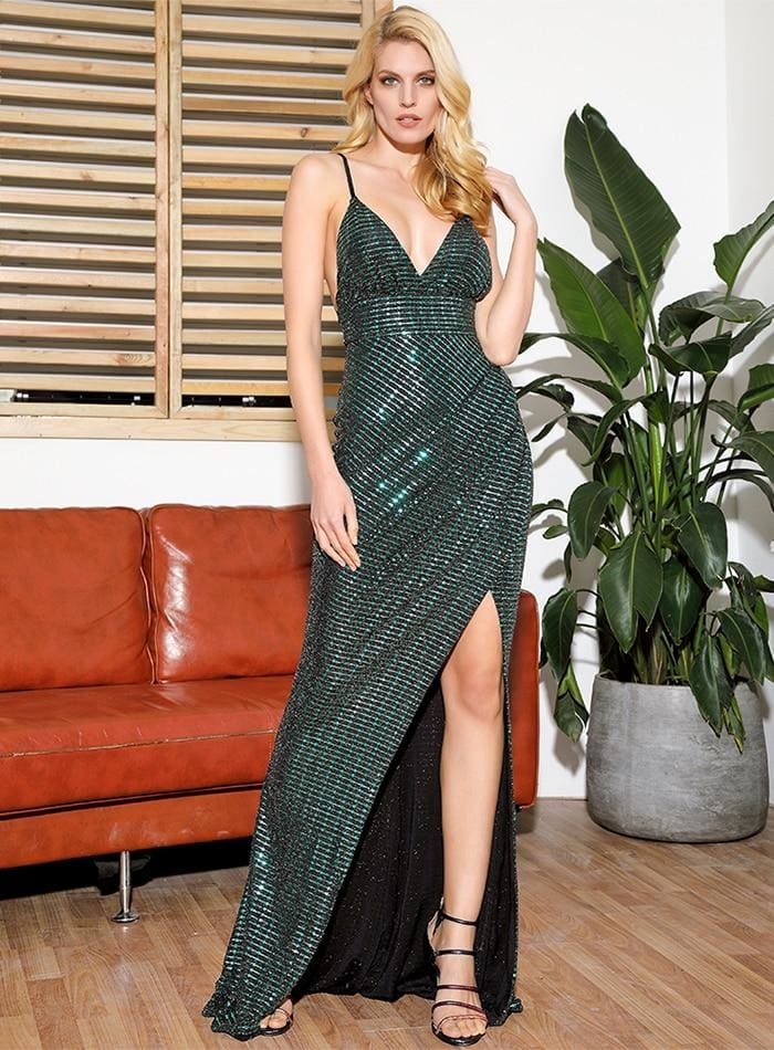 V-Neck Open Back Split Ironing Sequins Prom Maxi Dress - GREEN / XS - Dresses