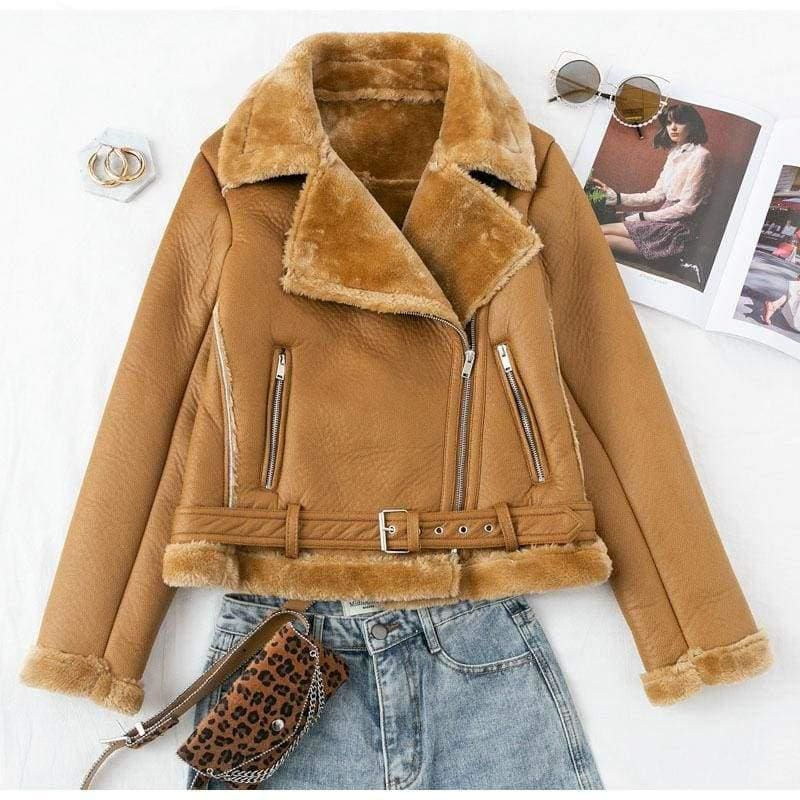 Vintage Faux Furry Leather Zippers Belted Warm Coats - Jackets & Coats
