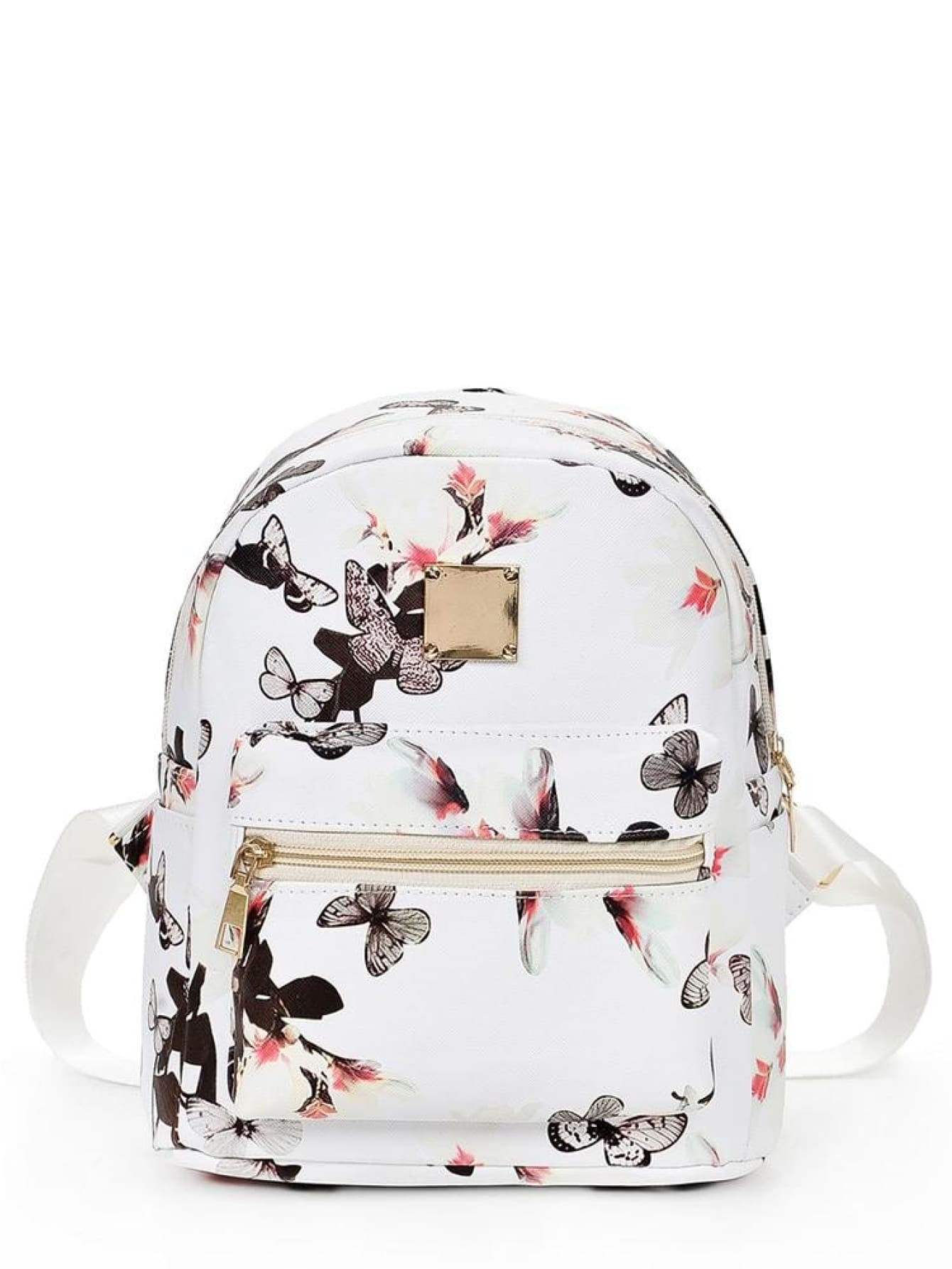 Vintage Flower Print Backpack - Womens Bag